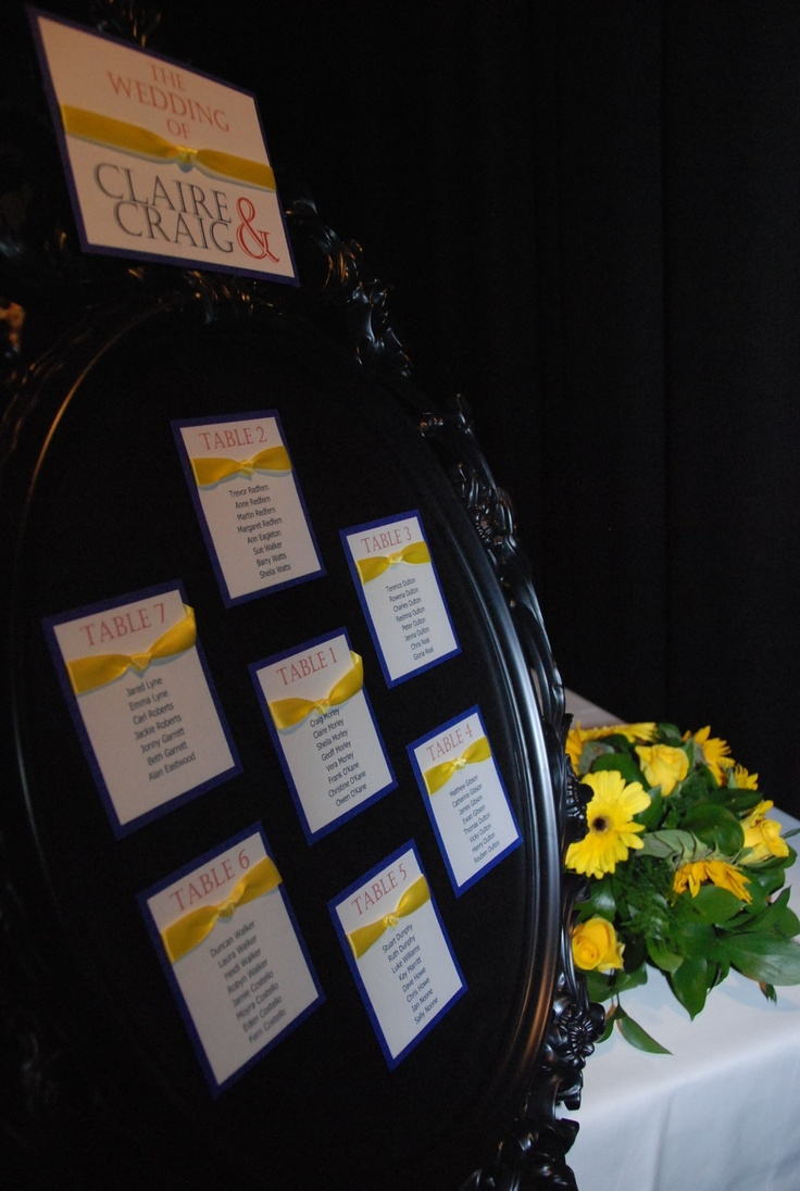 Table planner yellow and blue