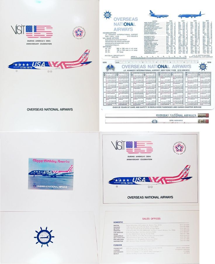 Bicentennial folder with inserts for N1776R; also shown the 1776 plastic calendar giveaway along with an ONA branded pencil