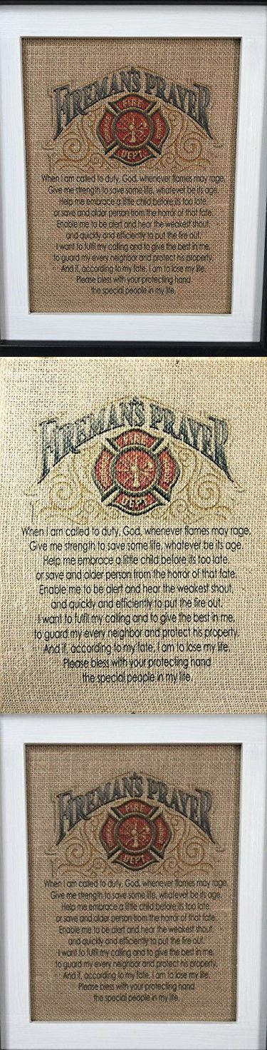 """Fireman's Prayer Bible Verse Religious Inspirational Wall Art 8.5"""" x 11"""" Unframed Burlap Tapestry Features Christian House Blessing for Your Home Decor"""