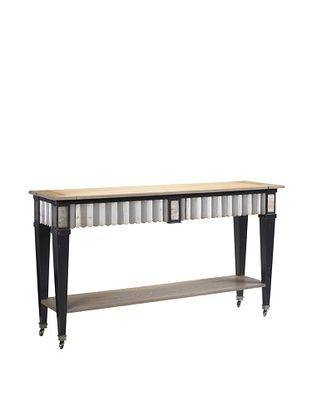 French Heritage Le Mont Console Table, Charcoal and Silver