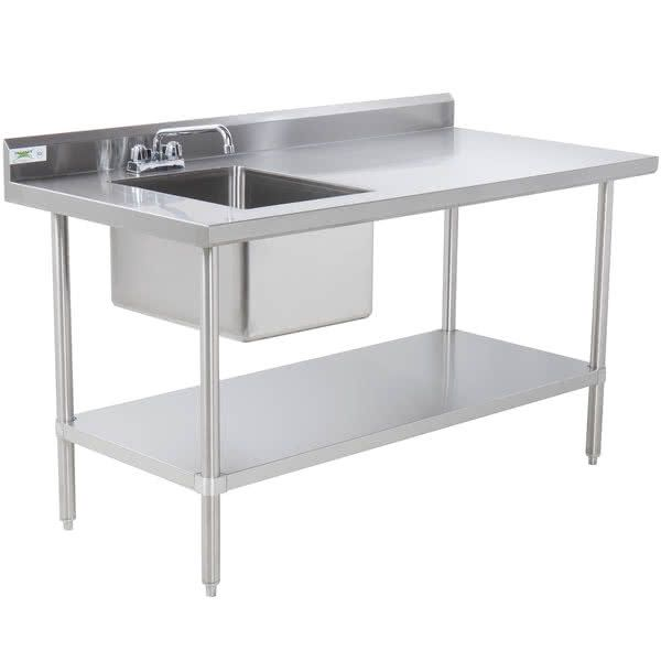 Regency 30 X 72 16 Gauge Stainless Steel Work Table With Sink In 2020 Stainless Steel Work Table Stainless Steel Table Steel Table