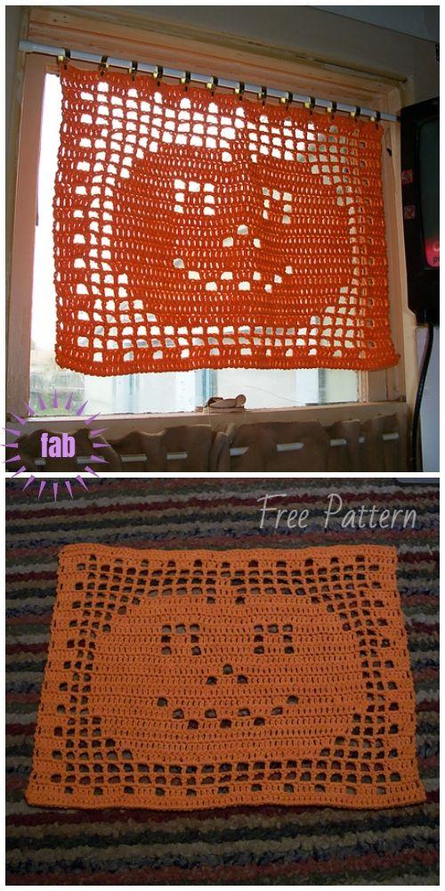 Crochet Patterns Fall Halloween Filet Crochet PumpkinMatDoily Free Crochet Pattern