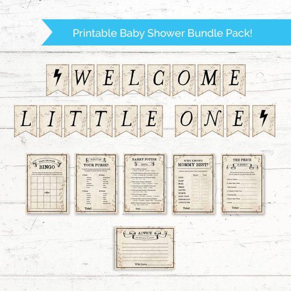 Harry Potter Baby Shower Printable Bundle Pack   Printable Baby Shower  Banner And 6 Games Package   Instant Download