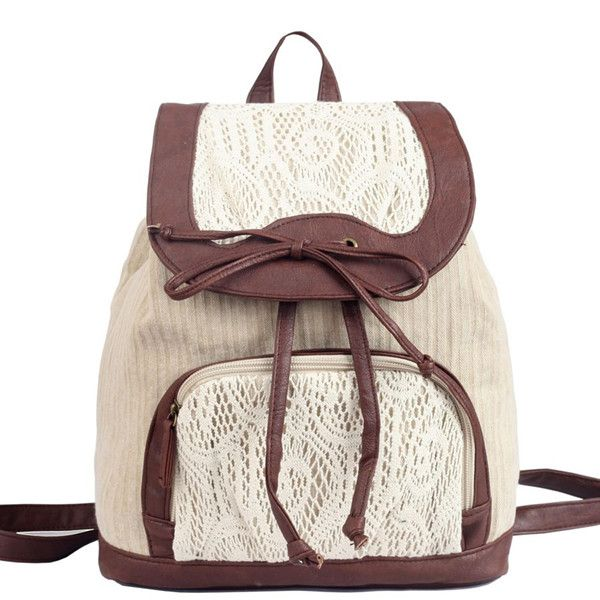 Bowknot Backpack With Lace Detail on Luulla