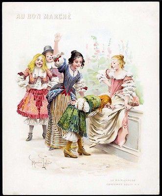 GIRL spanking BOY lrg AU BON MARCHE Trade Card 1900