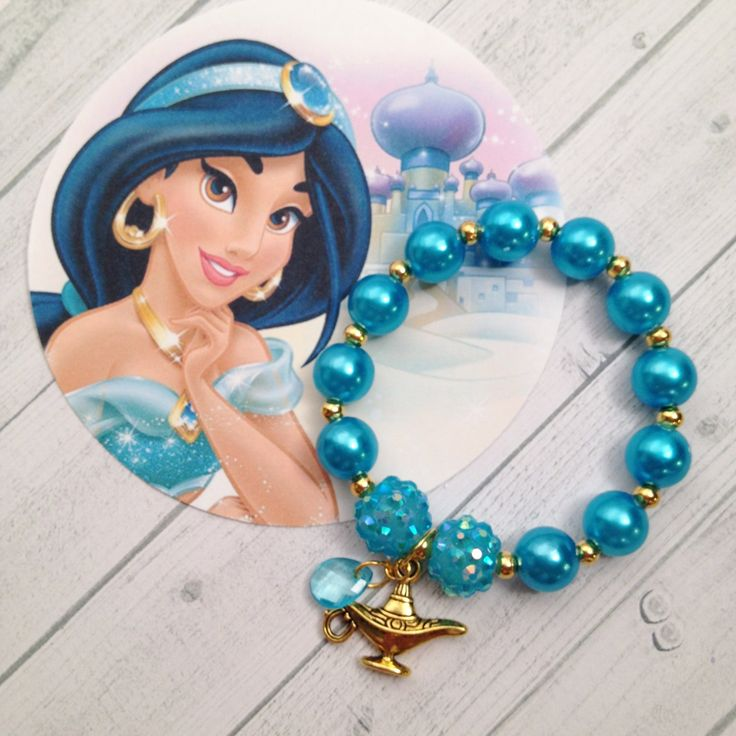 "8 - Princess Jasmine Pearl Genie Lamp Birthday Party Favor 6.25"" Bracelet Princess Jasmine birthday Aladdin Birthday Jasmine Bracelet by MichelleAndCompany on Etsy"