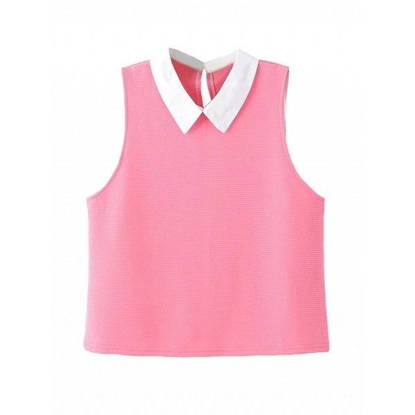 Choies Pink Contrast Pointed Collar Blouse ($22) ❤ liked on Polyvore featuring tops, blouses, pink, pink top and pink blouse