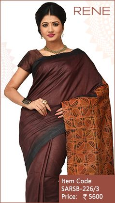 #Brown #Block #Print #Traditional #Kolkata #Bengalee #Bengali #Westbengal #Ethnic #Handloom #Tussar #Silk #Saree available only on #Flipkart #Paytm #Snapdeal
