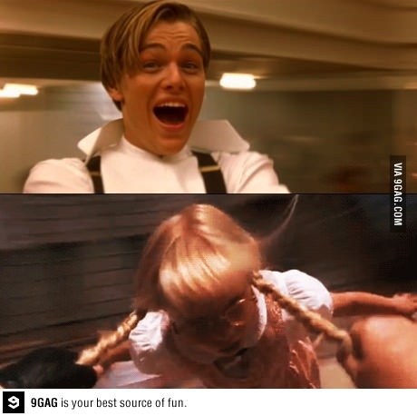 It's terrible that this made me laugh... Jack from Titanic swinging that little girl from Matilda by her pigtails.