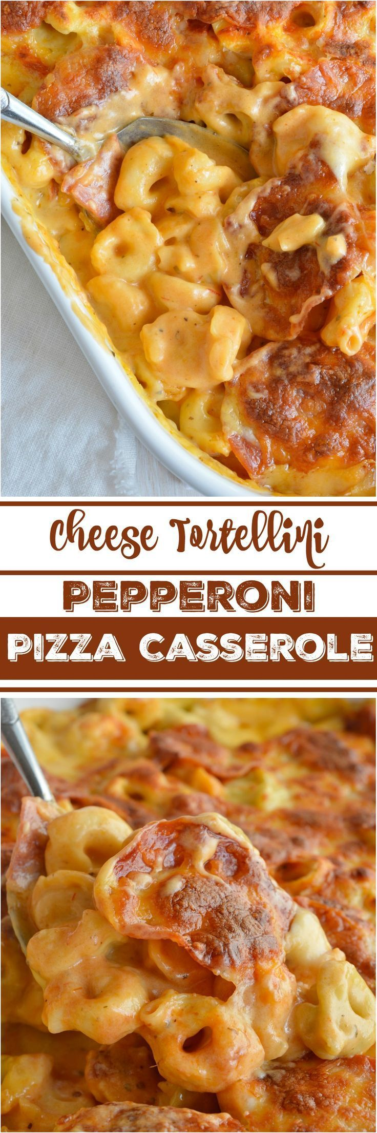 If you love macaroni & cheese and pepperoni pizza you will flip for this Cheese Tortellini Pepperoni Pizza Casserole Recipe! This tortellini mac & cheese is combined with the flavors of pepperoni pizza then baked to bubbly, cheesy perfection. This dinner is sure to become your family's new favorite comfort food.