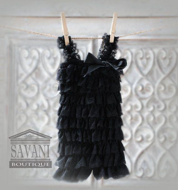 Negro encaje Petti mameluco regalos de bebé por SAVANIboutique