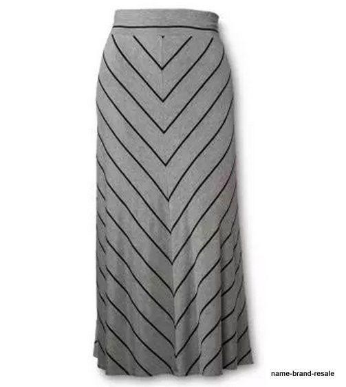 AVA & VIV New PLUS 3X 24 26 Long Gray Black Maxi SKIRT Comfy MODEST Chevron #AvaViv #ALine