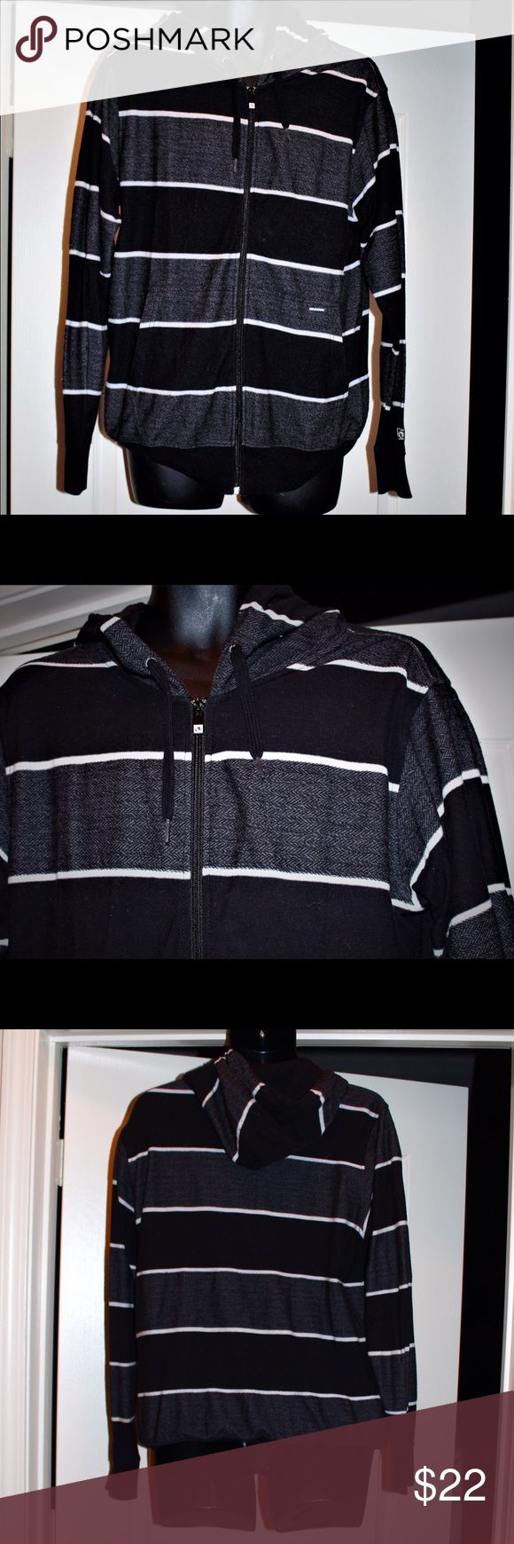 🌊Ocean Current Zip Hoodie Awesome men's full zip black, grey white striped hoodie by ocean current. Light weight and stylish! Bought from jack threads. Size medium. Ocean Current Jackets & Coats Lightweight & Shirt Jackets