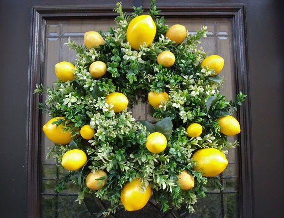 Lemon Wreath Lemon Kitchen Decor Boxwood Wreath By Luxewreaths 99 00