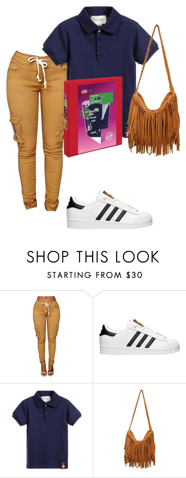 """""""my school uniform """" by barbierollins ❤ liked on Polyvore featuring adidas and Gucci"""