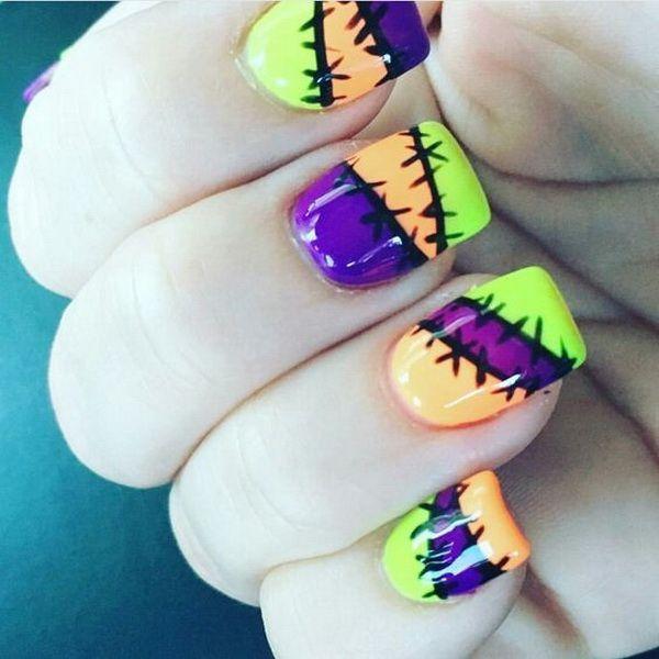 Neon Halloween Nail Design.