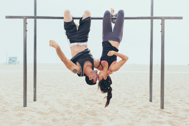 Beach and fitness engagement photos- fun idea for couples that enjoy fitness and being healthy together!