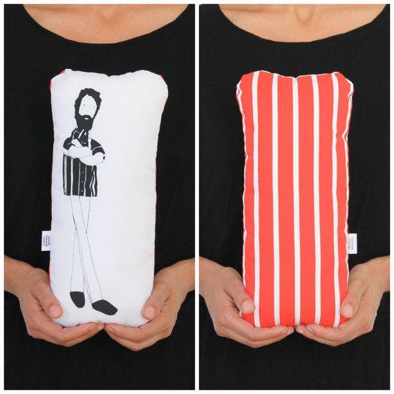 Hand screen printed pillow, illustrated bearded doll Sicrano #fulanabeltranasicrana
