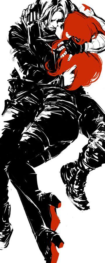 monochromatic Bucky x Natasha fanart by temariart #bucktasha