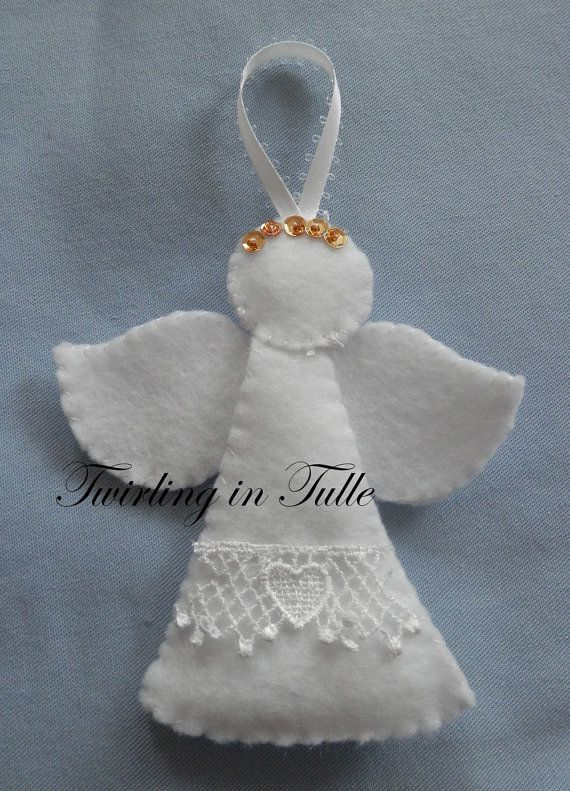 White Felt Angel Ornament Set of 2 by TwirlinginTulle on Etsy, $9.00