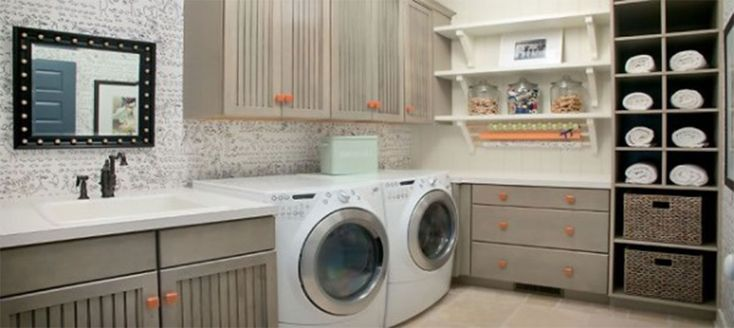 copper and gray laundry decor | ... Mixed With Wooden Laundry Room Furniture Decor Plus White Shelves