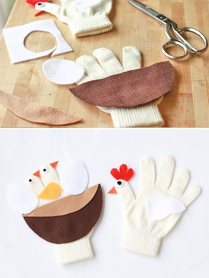 DIY Mama Chicken & Nest  Puppet Gloves for Kids