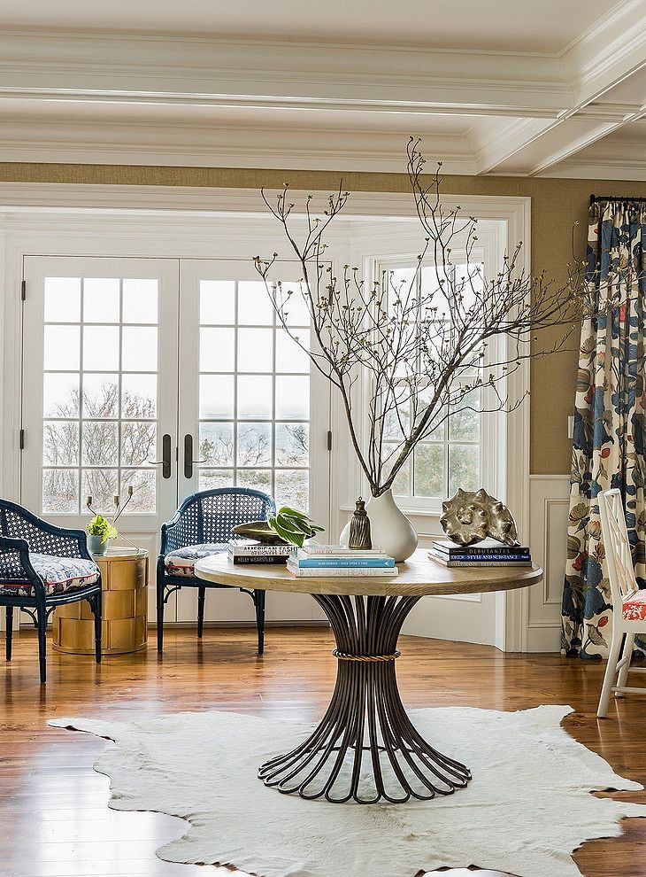 Drapes In Nympheus Indigo Marine Katie Rosenfeld Design Round Foyer Table Entryway Round Table Entrance Table Decor