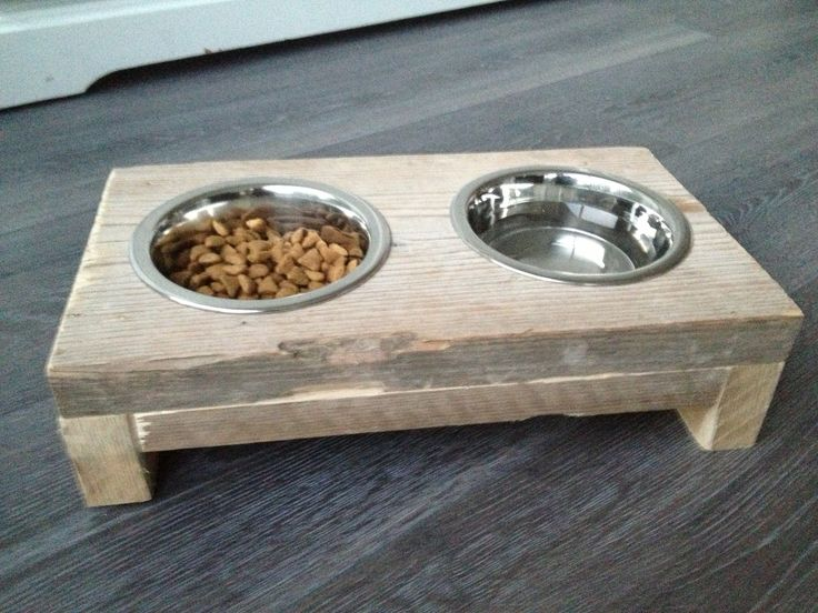 cat food bowl made of scaffolding wood