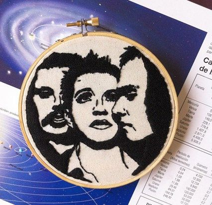 Placebo embroidery hoop art/ Placebo band by Petricorembroidery