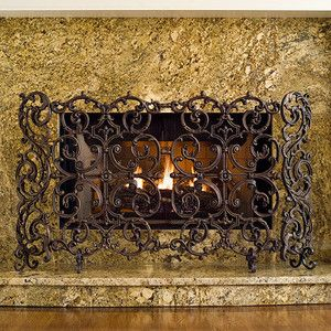 Classic Two Panel Cast Iron Fireplace Screen.