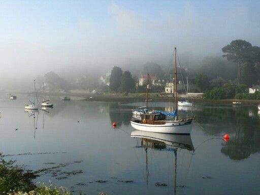 Misty morning at Mylor Bridge, Cornwall.