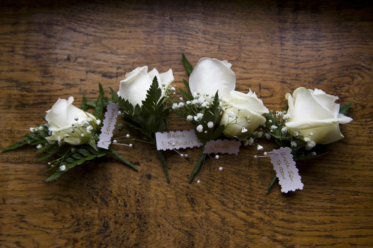 Ivory rose and gypsophila button holes at Wasing Park by Studio Rouge Photography