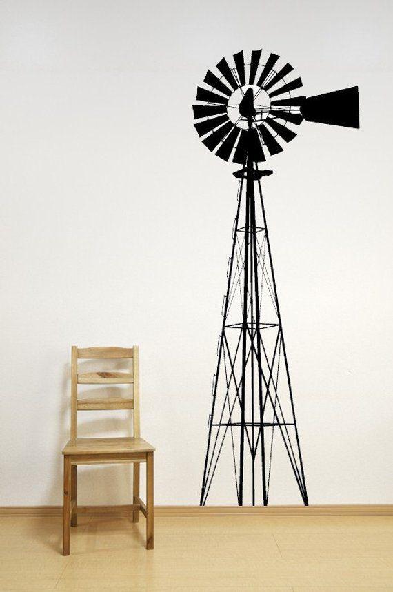 Windmill Decal Wind Mill Wall Decor Farm Home Art Nursery