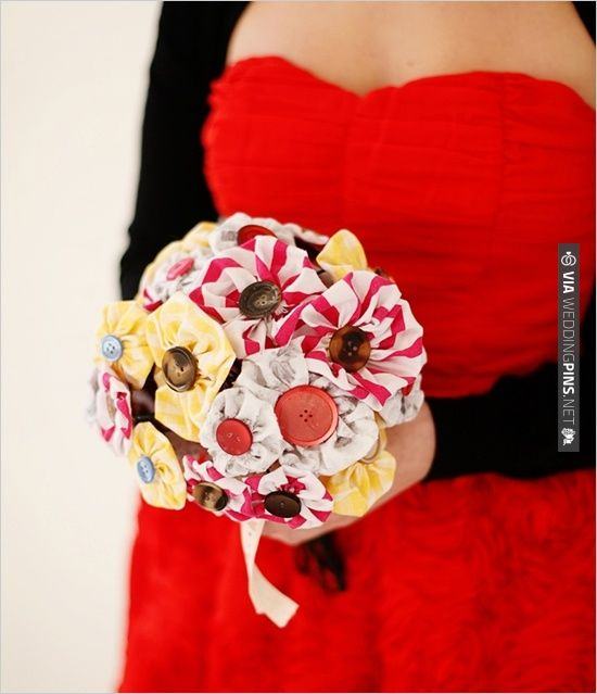 DIY, Do It Yourself, Fabric Wedding Bouquet, Fabric, Buttons, Bouquet, Flowers, Floral, arrangement | CHECK OUT MORE IDEAS AT WEDDINGPINS.NET | #diyweddings