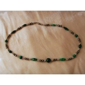 Malachite and silver bead necklace, 56cm