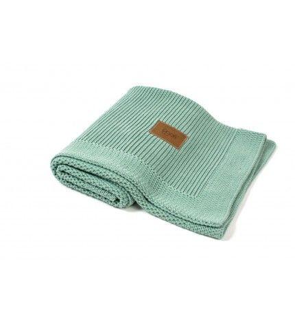 Kocyk tkany z bawełny organicznej Poofi mięta polna