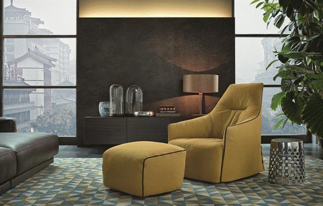 POLIFORM: Santa Monica lounge armchair and pouf, Cheese small table, Pandora sideboard and Paris- Seoul sofa