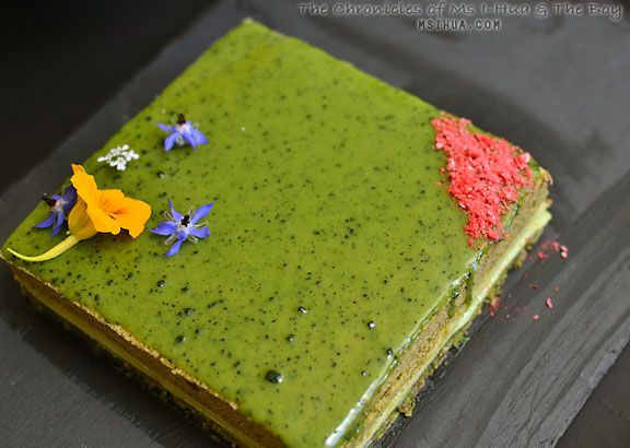 Gorgeous Matcha opera Gateu (Green tea layer cake) #japaneasy #matcha #cake
