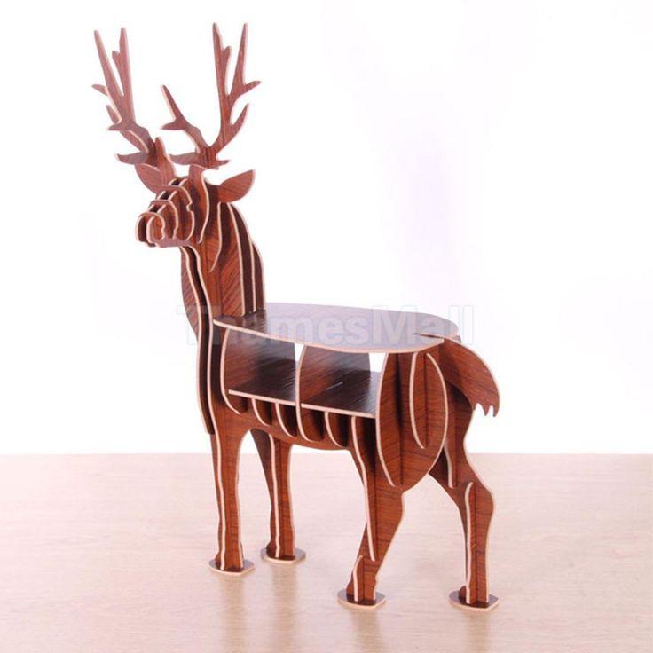 3D Puzzle Wooden Figurine Deer Decorative Desktop Storage Pen Holder -Brown