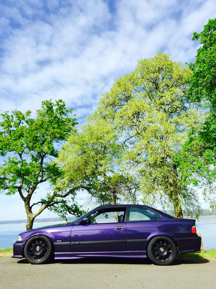 Posing next to Folsom lake! 1998 BMW M3 Techno Violet Coupe Purple Stance Low Slammed Racecar LTW Racing Fast Mtechnic Mpower Slicktop Catuned Goals Bavarian Motorsport Rare Want Need