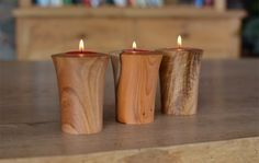 Hand turned wooden tea lights - Jonathan Leech