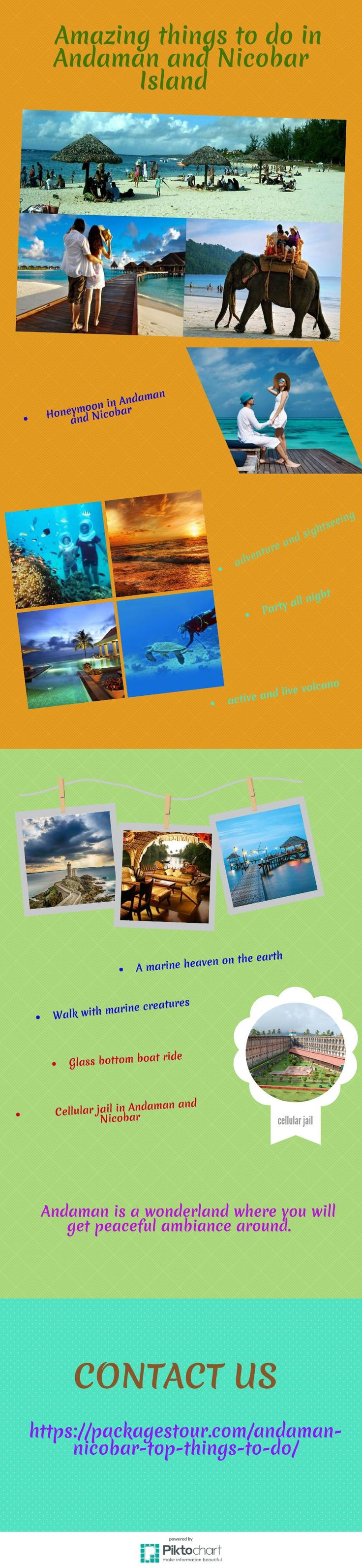 Things to do in Andaman and Nicobar Island - Activities and Islands tourism information wildlife, under water activities to do in Andaman and Nicobar Island. If you are expecting a fairy tale romance on honeymoon beaches, then you can compare go for Andaman vs Lakshadweep vs Goa. When you are in Andaman, you will find a romantic air that binds you and your partner in a salubrious climate round the year. https://packagestour.com/andaman-nicobar-top-things-to-do/