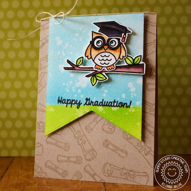 Sunny Studio Stamps: Woo Hoo Happy Graduation Owl Card by Eloise Blue.