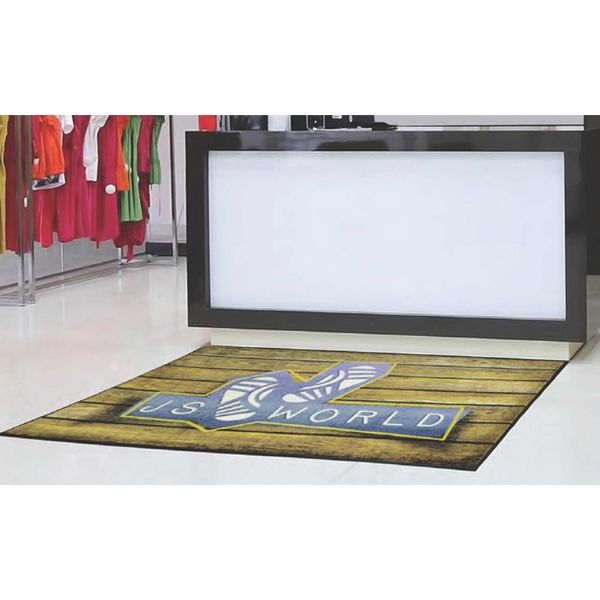 "Capture the essence of your brand on this DigiPrint (TM) HD High Traffic Indoor Mat! Manufactured on a high definition digital printer, this mat displays the detail of your logo at 10 times the resolution of standard mats. Constructed of extremely plush 32 oz. nylon carpet, this floor covering is an outstanding choice for indoor use in high traffic areas. Treated with StainStopper (TM) for long term colorfastness, this 5/16"" thick mat features a SBR rubber border and backing mak..."