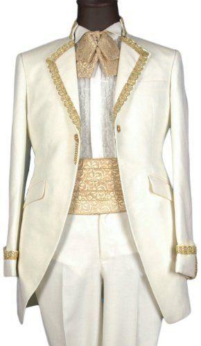 Ivory Satin Mens Button Tuxedo Suit Jacket Shirt Necktie Pants Waist Girdle