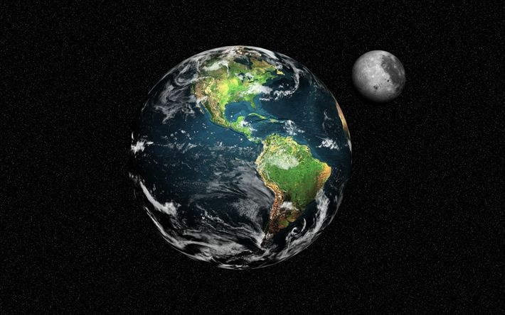 Download wallpapers Earth, moon, planet, space, starry sky