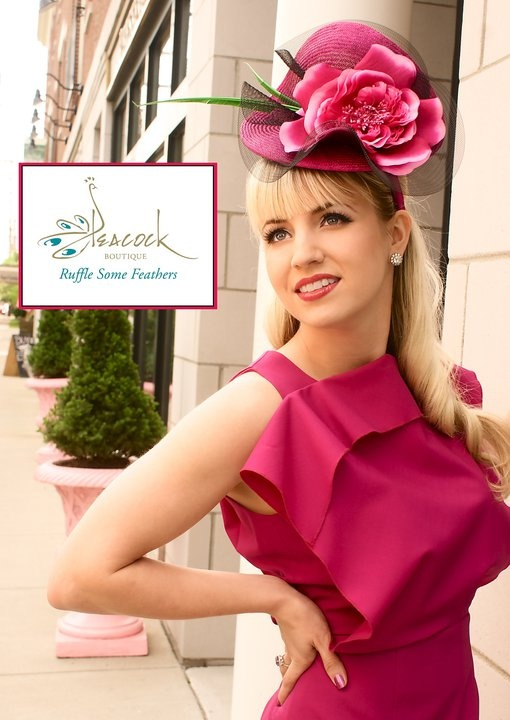 Catherine Jones models a Memsahib cerise fascinator and dress by another of my favourite Australian designers Yeojin Bae, for Peacock Boutique, Louisville Kentucky.