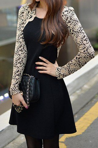 Lace Splicing Nipped Waist Long Sleeve Round Neck Women's Dress