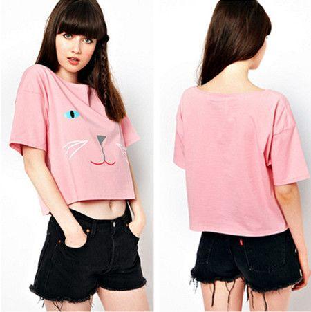 2014 Summer European And American High Street Style Pink Girl Cotton T-shirt Cute Kitty Cat Print Short Crop Tops Tees #682 $13.85