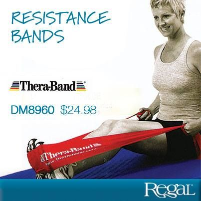 """RESISTANCE BANDS  Preferred choice of therapy and fitness professionals. Light resistance bands offer 3 levels of resistance. Three 5 foot rubber lengths each with a different resistance level. Comes with a usage guide with easy to follow instructions. Each band: 64""""L x 5""""W www.krussell.shopregal.ca"""
